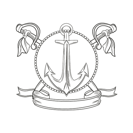 tattooing: anchor sword ribbon seal stamp cartoon pirate tattoo marine nautical icon. Black white isolated design. Vector illustration Illustration