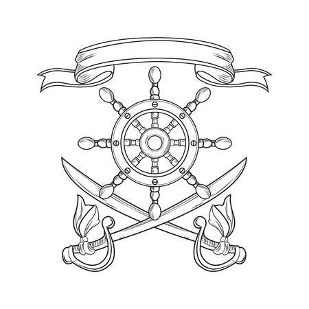 tattooing: rudder sword ribbon cartoon pirate tattoo marine nautical icon. Black white isolated design. Vector illustration