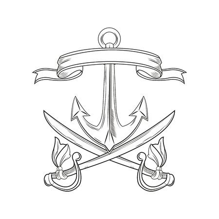 tattooing: anchor sword ribbon cartoon pirate tattoo marine nautical icon. Black white isolated design. Vector illustration