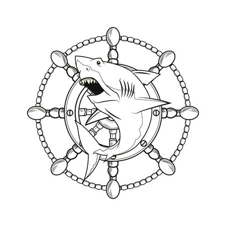 tattooing: shark rudder cartoon pirate tattoo marine nautical icon. Black white isolated design. Vector illustration Illustration