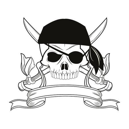 skull sword ribbon cartoon pirate tattoo marine nautical icon. Black white isolated design. Vector illustration