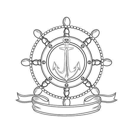 rudder anchor ribbon cartoon pirate tattoo marine nautical icon. Black white isolated design. Vector illustration
