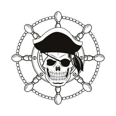 tattooing: skull rudder cartoon pirate tattoo marine nautical icon. Black white isolated design. Vector illustration