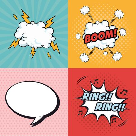ブーム バルーン リング雲雷爆発漫画 pop アート コミック レトロ通信アイコン。カラフルなデザイン。ベクトル図 写真素材 - 62025703