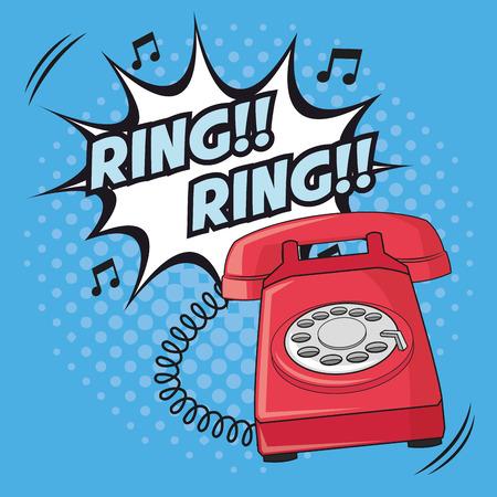 ring explosion phone cartoon pop art comic retro communication icon. Colorful pointed design. Vector illustration Illustration