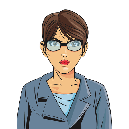 girl glasses: woman female girl glasses jacket cartoon pop art comic retro icon. Colorful and isolated design. Vector illustration