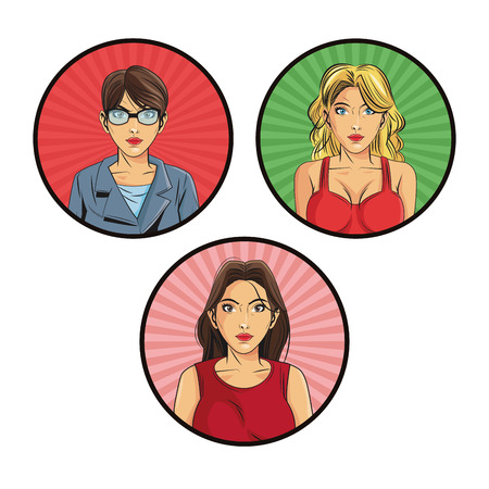 girl glasses: woman female girl glasses cartoon pop art comic retro icon. Colorful isolated circle with striped design. Vector illustration