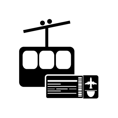 ski pass: flat design funicular and boarding pass icon vector illustration