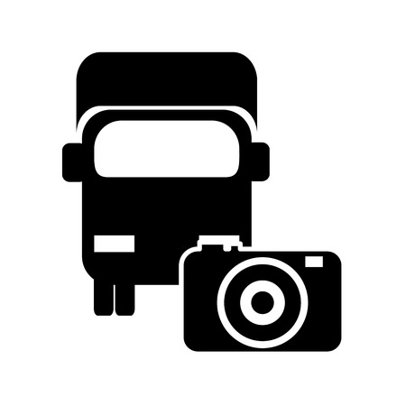 semitruck: flat design truck or van and photographic camera vector illustration