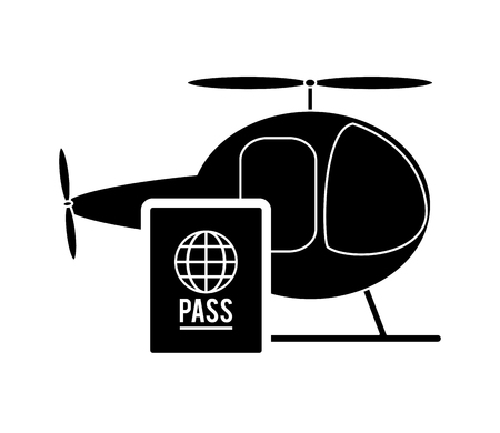 emigration and immigration: flat design helicopter and passport icon vector illustration Illustration