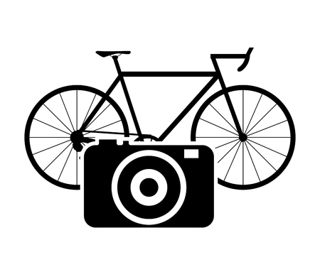 flat design bike or bicycle and camera icon vector illustration