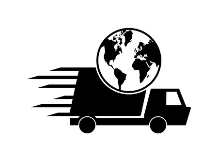 removal van: flat design truck or van and earth globe icon vector illustration