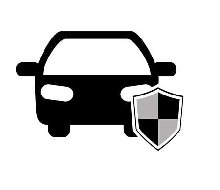flat design car and shield icon vector illustration