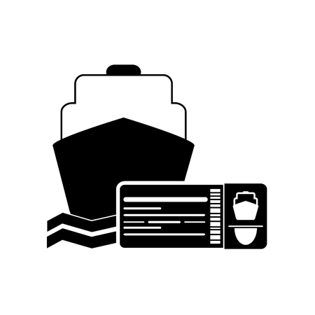 return trip: flat design cruise ship and boarding pass icon vector illustration Illustration