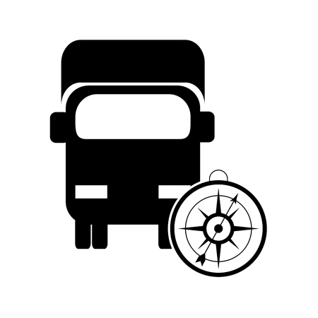 flat design truck or van with compass icon vector illustration Illustration