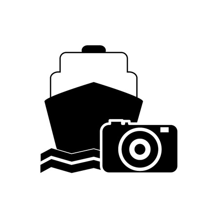 flat design cruise ship and photographic camera icon vector illustration