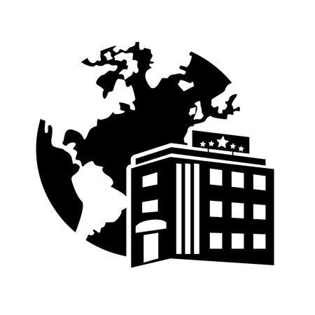 headquarter: flat design earth globe and hotel icon vector illustration