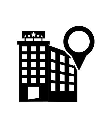 headquarters: flat design gps map pointer and hotel icon vector illustration