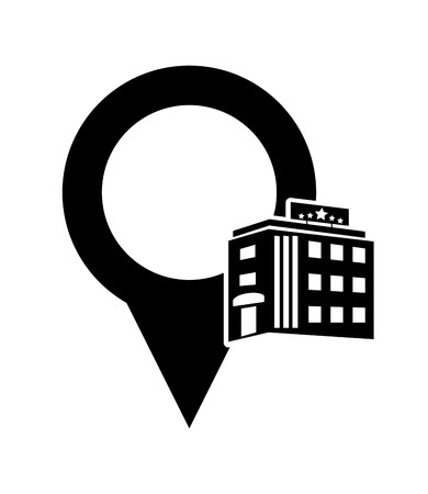 headquarter: flat design gps map pointer and hotel icon vector illustration