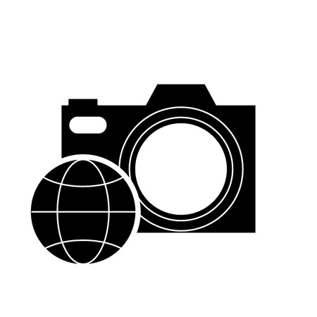 photographic: photographic camera and earth globe diagram icon