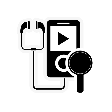 single songs: flat design mp3 player and magnifying glass icon vector illustration Illustration