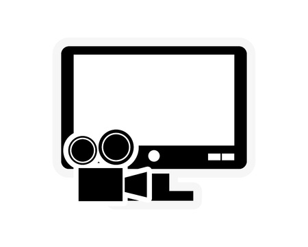 film projector: flat design computer monitor and film projector icon vector illustration