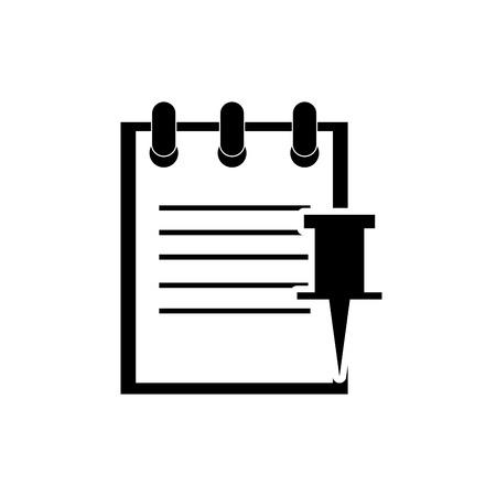 push pin icon: flat design notepad and push pin icon vector illustration