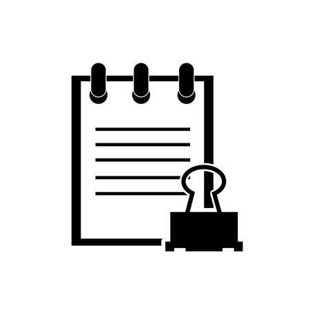 clerical: flat design notepad and clerical pin icon vector illustration Illustration