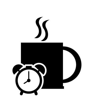 flat design mug and clock icon vector illustration
