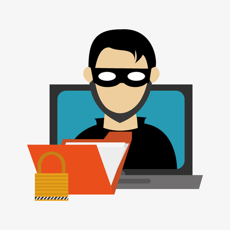 hacker in laptop with file folder and safety lock system security design Illustration