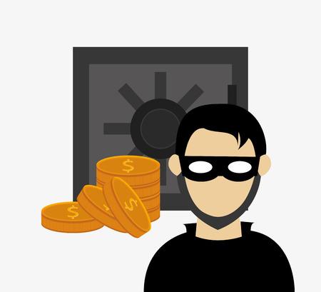 folder lock: hacker in laptop with file folder and safety lock system security design Illustration