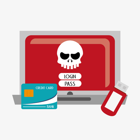 usb drive: laptop computer with skull virus representation login password credit card and usb drive system security design