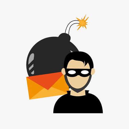 fatal error: hacker with envelope and bomb virus representation system security design