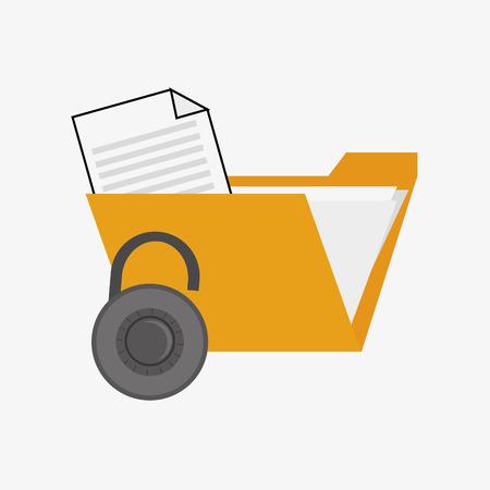 folder lock: file folder and safety lock system security design Illustration