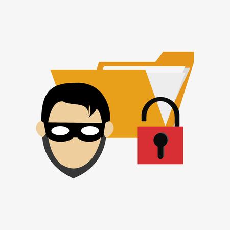 folder lock: hacker with file folder and safety lock system security design