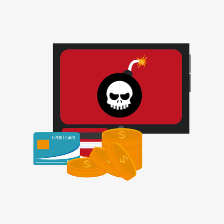 fatal error: tablet with bomb virus representation on screen  coins and credit card system security design Illustration