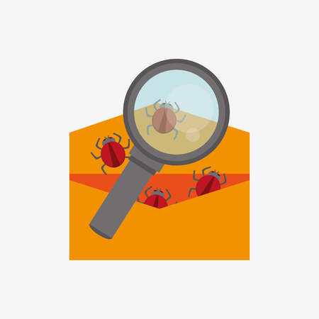 fatal error: envelope or file folder with bugs virus representation with magnifying glass system security design