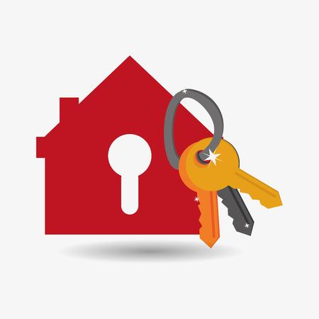 house shape safety lock and keys system security design Illustration