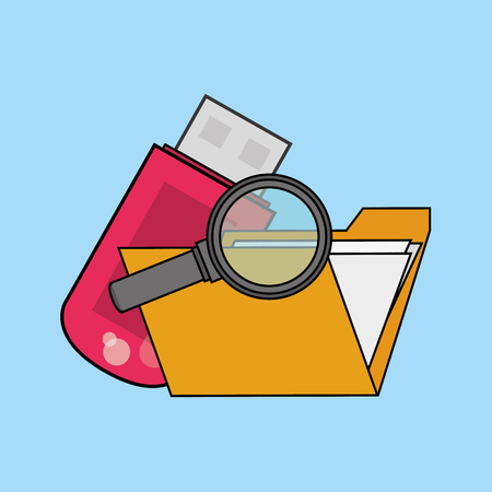 envelope or file folder with usb drive and magnifying glass icon