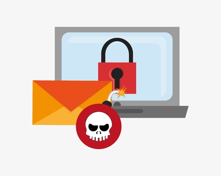 detected: laptop computer with safety lock skull bomb and envelope system security design