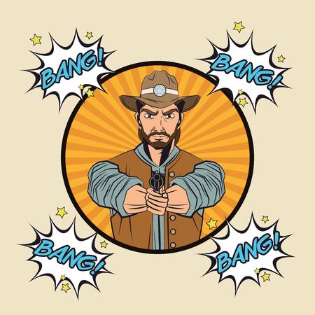 man  gun: Cowboy bubble man gun revolver pop art comic cartoon icon. Colorful and striped design. Vector illustration Illustration