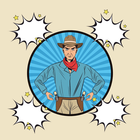 man with gun: Cowboy bubble man gun revolver pop art comic cartoon icon. Colorful and striped design. Vector illustration Illustration