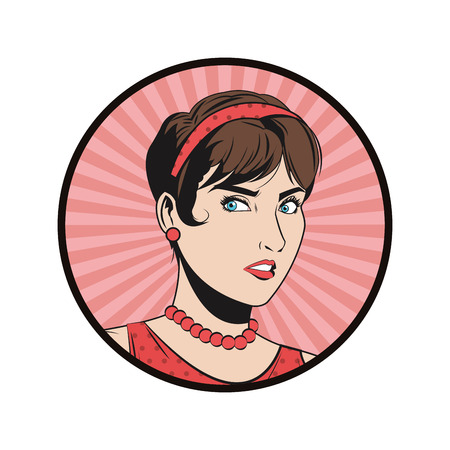 advertising woman: woman girl female expression cartoon pop art comic retro icon. Colorful circle and striped design. Vector illustration