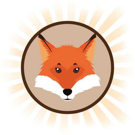 fox cartoon animal picture icon. Circle and colorful design. Vector illustration Illustration