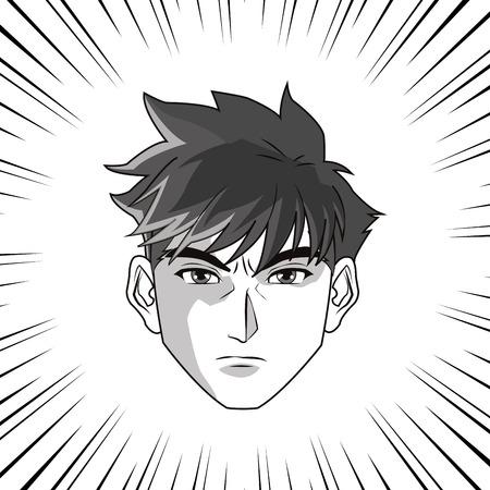 anime young: Anime boy or man cartoon icon. Manga and comic design. Black and white design. Vector illustration Illustration