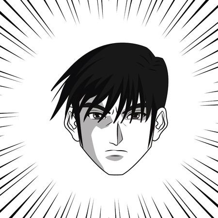 Anime boy or man cartoon icon. Manga and comic design. Black and white design. Vector illustration Illustration