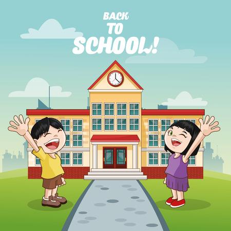 cartoon school girl: boy and girl cartoon in front of school building icon. Vector illustration