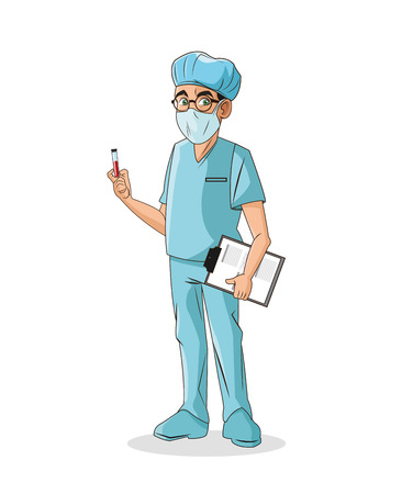 doctor man cartoon with uniform icon. medical and health care theme. Colorful and isolated design. Vector illustration