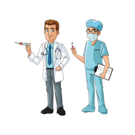 de dibujos animados del hombre del doctor con el icono uniforme. tema médico y la atención sanitaria. diseño colorido y aislado. ilustración vectorial