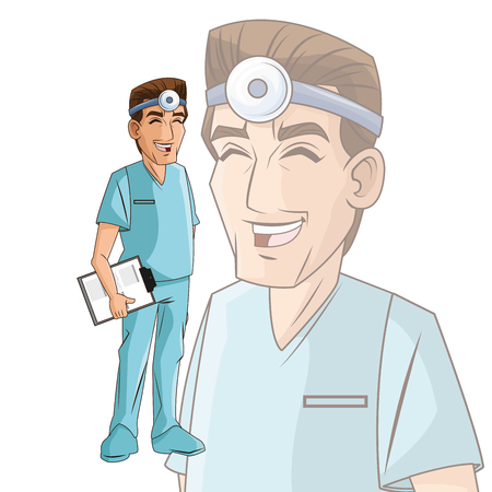 mentors: doctor man cartoon with uniform icon. medical and health care theme. Colorful and isolated design. Vector illustration